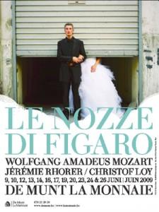 Affiche van Le nozze di Figaro in De Munt in Brussel.