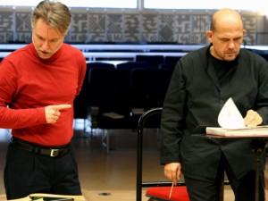 Aldert Vermeulen (links) met Jaap van Zweden tijdens een repetitie.