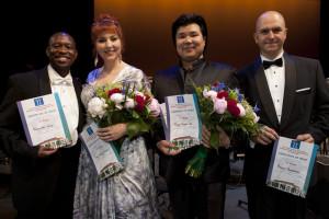 Van links naar rechts: Rheinaldt Moagi, Eve-Maud Hubeaux, Dong-Hwan Lee en Roman Burdenko (foto: Paul van Wijngaarden).