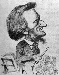 Wagner op een cartoon uit 1873, die hem met overdreven Joodse trekken afbeeldt.
