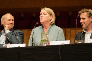 Edwin Rutten, Nadine Secunde en Bart Schneemann tijdens de paneldiscussie over Wagner (foto: Dré de Man).