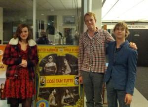 Merle, Jente en Mischa bij Così fan tutte in Den Haag.