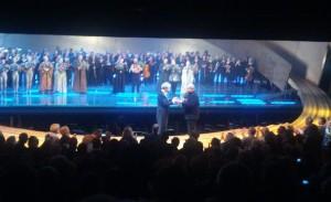 Pierre Audi en Hartmut Haenchen bij het slotapplaus van de allerlaatste voorstelling van hun Ring.