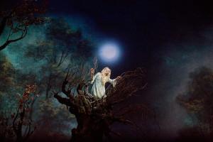 Renée Fleming zingt het lied van de maan (foto: Ken Howard / Metropolitan Opera).