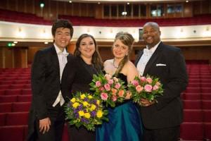 Van links naar rechts: Il Do Song (3e prijs), Irina Churilova (1e prijs en publieksprijs), Siobhan Stagg (mediaprijs) en Siyabulela Ntlale (2e prijs) (foto: Susanne Diesner).