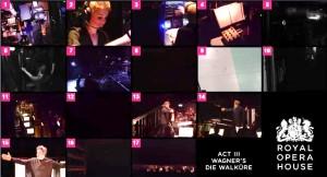 Screenshot van de zeventien cameraposities van de 'Opera Machine'.