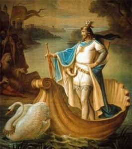 Lohengrin op een schilderij van August von Heckel.