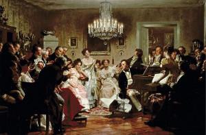 Schubertiade, een schilderij van Julius Schmid.