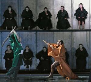 Telramund en Lohengrin in de Lohengrin-productie van De Nationale Opera (foto: Ruth Walz).