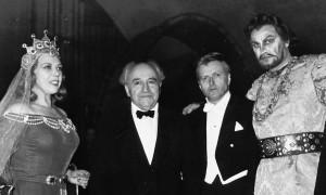 Gianna Pederzini, Ernest Bloch, Gianandrea Gavazzeni en Nicola Rossi Lemeni in Rome, 1953.