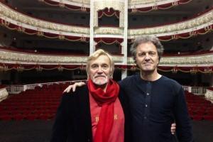 Vladimir Vasiliev en Vincent de Kort in het Bolsjoj-theater in Moskou.