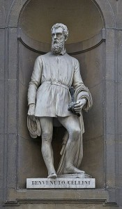 Standbeeld van Benvenuto Cellini in Florence.