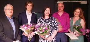 Van links naar rechts: voorzitter Leo Cornelissen, Yourai Mol, Charlotte Janssen, adviseur Hans Middelhuis en Anna Traub (foto: Peter Franken).