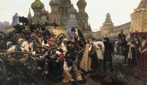 'De ochtend van de executie van de Stretsy na hun mislukte opstand in 1698', schilderij van Vasily Ivanovich Surikov.