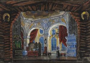 Ontwerp voor het decor van de tweede akte door Mstislav Valerianovich Dobuzhinsky (1875–1957).