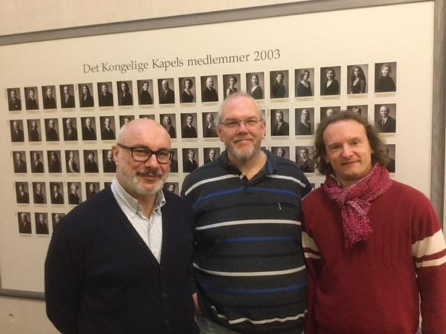 Giuliano Carella, Nicolai Cok en Hans van Kerckhoven bij hun ontmoeting in Kopenhagen.