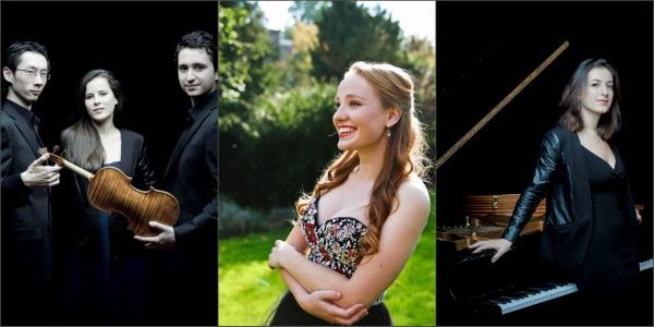 Het Amatis Piano Trio, sopraan Laetitia Gerards en pianiste Sophiko Simsive. (© Marco Borggreve en Emma Peijnenburg)