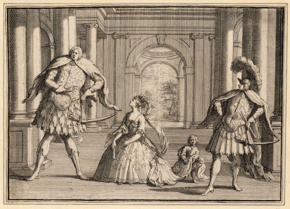 Karikatuur van een voorstelling van Händels Flavio, met rechts de castraat Gaetano Berenstadt, in het midden Francesca Cuzzoni en links Senesino.