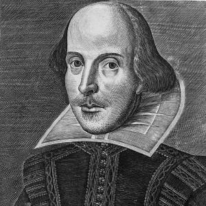 Shakespeare (1564-1616) op een portret van Martin Droeshout.