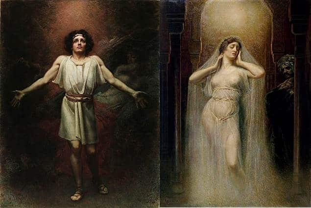 Parsifal en Kundry op een schilderij van Rogelio de Egusquiza.