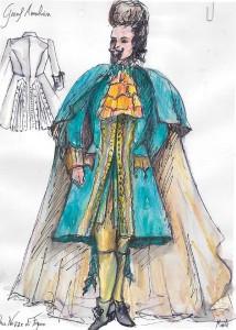 Het kostuum voor graaf Almaviva, ontworpen door Marrit van der Burgt. (© Opera Zuid)