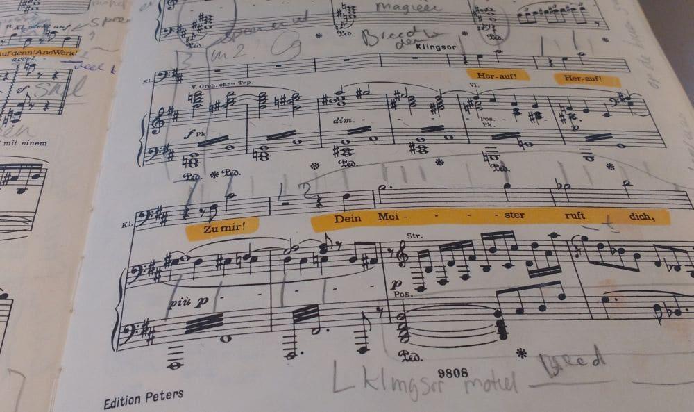 De Peters-uitgave van de partituur van Parsifal, met notities van Bastiaan Everink.