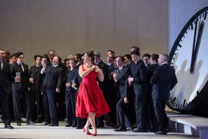 Scène uit La traviata. (© Marty Sohl / Metropolitan Opera)