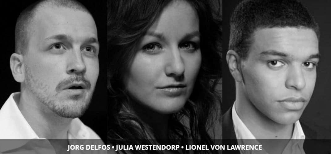 De drie solisten: Jorg Delfos, Julia Westendorp en Lionel von Lawrence.