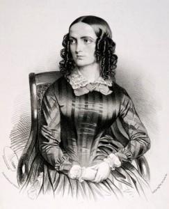 Teresa Brambilla (1813-1895) zong de rol van Gilda bij de succesvolle wereldpremière van Rigoletto in 1851 (schilderij van Antoine Maurin).